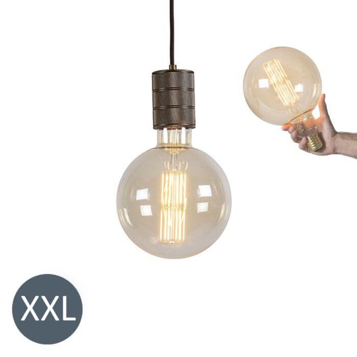 Φωτιστικό-κρεμαστό-χάλκινο-Megaglobe-με-λυχνία-LED-με-δυνατότητα-ρύθμισης