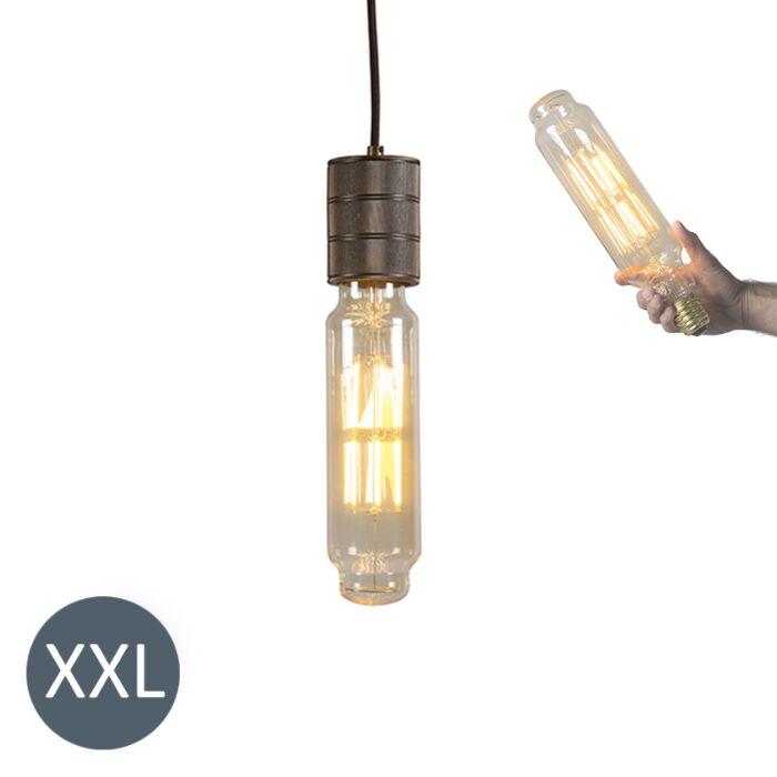 Κρεμαστή-λάμπα-Πύργος-χάλκινο-με-λαμπτήρα-LED