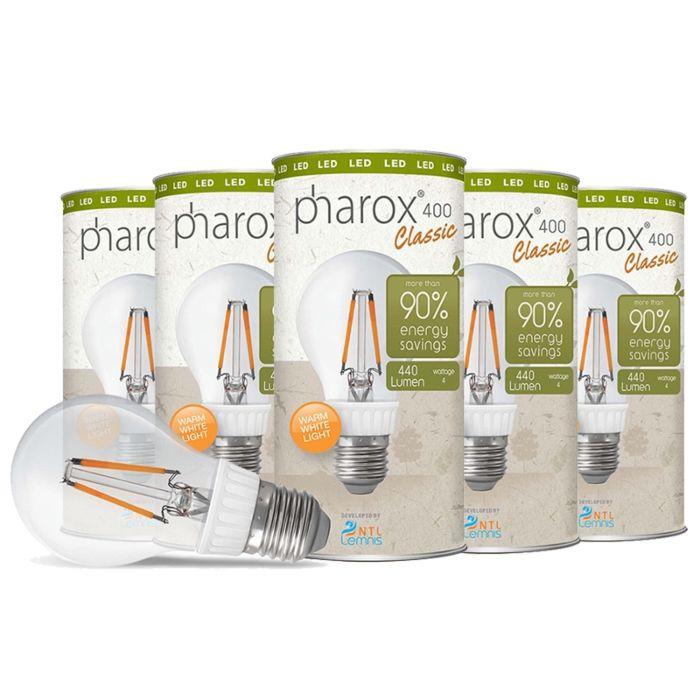 Pharox-LED-lamp-400-Classic-E27-4W-σετ-5