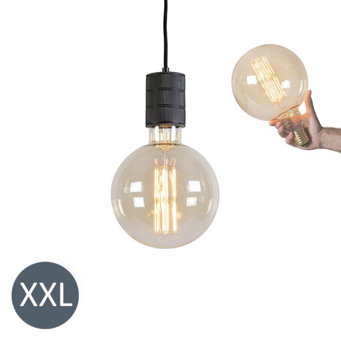 Κρεμαστή-λάμπα-Megaglobe-μαύρο-με-λυχνία-LED-με-δυνατότητα-ρύθμισης