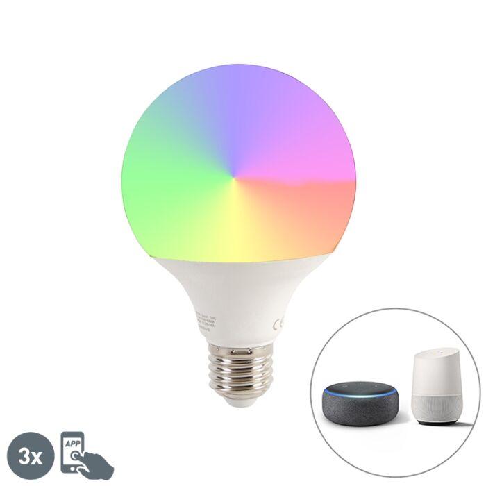 Έξυπνο-σετ-3-λαμπτήρων-LED-με-ρυθμιζόμενο-φωτισμό-G95-11W-1050-lm-2200-4000K