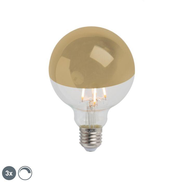Σετ-3-E27-με-ρυθμιζόμενο-μισό-καθρέφτη-LED-G95-χρυσό-280lm-2300K