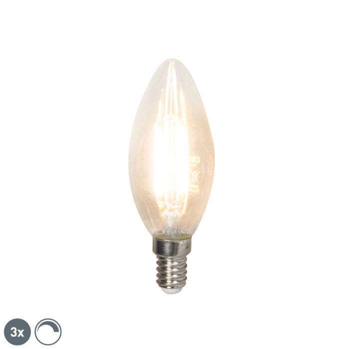 Σετ-3-λαμπτήρων-κεριών-νήματος-LED-E14-240V-3,5W-350lm-B35-με-δυνατότητα-ρύθμισης