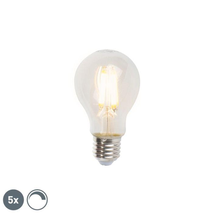Σετ-5-λαμπτήρων-πυράκτωσης-LED-E27-με-δυνατότητα-dimmable-A60-7W-806lm-2700K