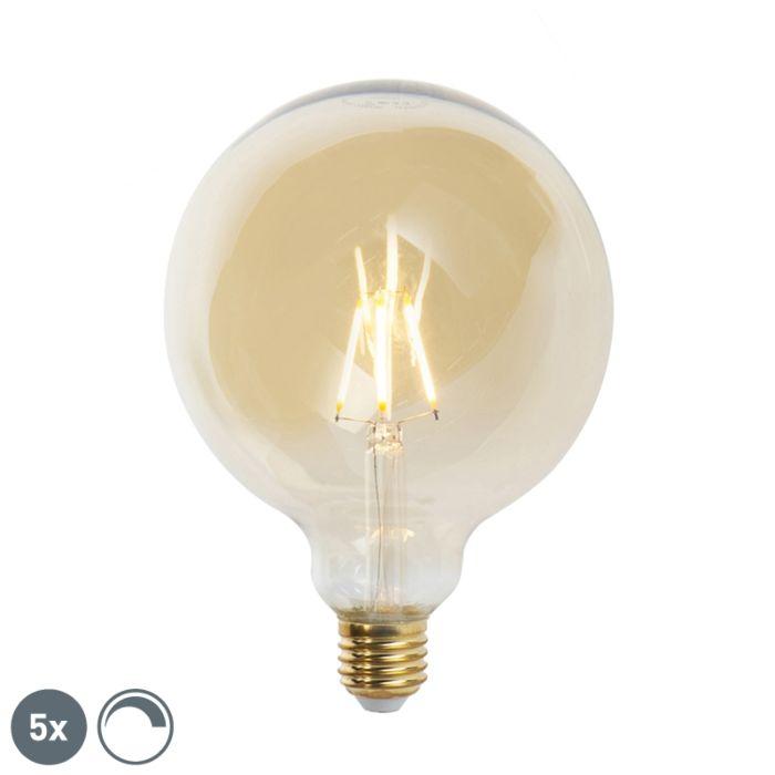 Σετ-από-5-λαμπτήρες-πυράκτωσης-LED-E27-με-δυνατότητα-dimmable-G125-goldline-2200K