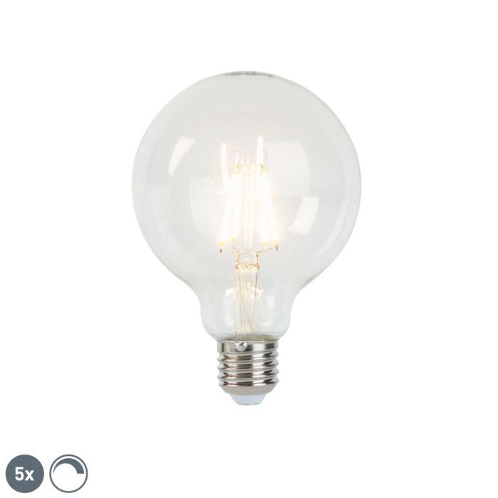 Σετ-5-λαμπτήρων-φωτισμού-LED-E27-με-δυνατότητα-ρύθμισης-dimmable-G95-5W-470-lm-2700K
