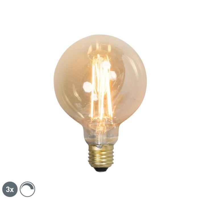 Σετ-3-λαμπών-πυράκτωσης-LED-E27-με-δυνατότητα-dimmable-G95-goldline-2100K