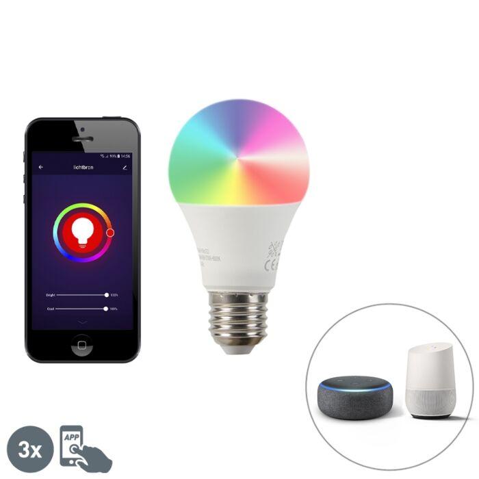 Έξυπνο-σετ-3-λαμπτήρων-LED-με-ρυθμιζόμενο-φωτισμό-A60-9W-800-lm-2200-4000K