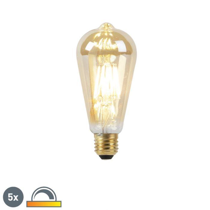 Σετ-5-λαμπτήρων-LED-E27-8W-2000-2600K-αμυδρό-έως-ζεστό-νήμα-από-χρυσή-γραμμή