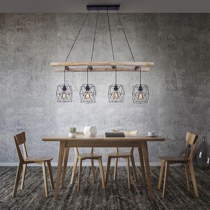 Βιομηχανική-κρεμαστή-λάμπα-μαύρο-με-ξύλο-4-φως---Mediena