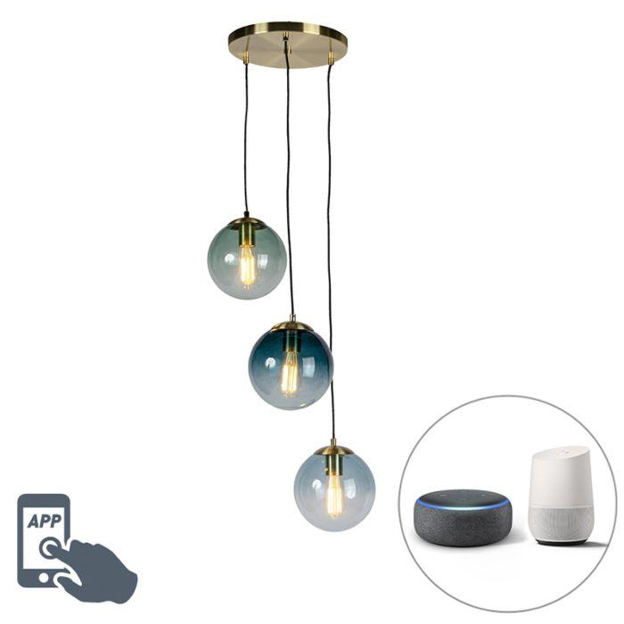Έξυπνη-κρεμαστή-λάμπα-ορείχαλκου-με-3-WiFi-ST64-με-μπλε-γυαλί---Pallon