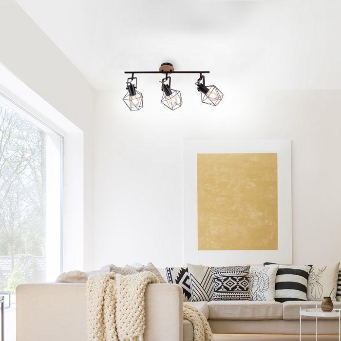 Βιομηχανική-λάμπα-οροφής-μαύρο-με-ξύλο-3-φως---Sven