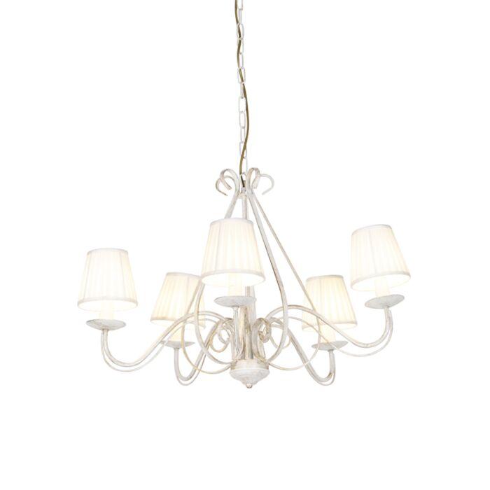 Kroonluchter-wit-met-plisse-klemkap-crème-5-lichts---Giuseppe