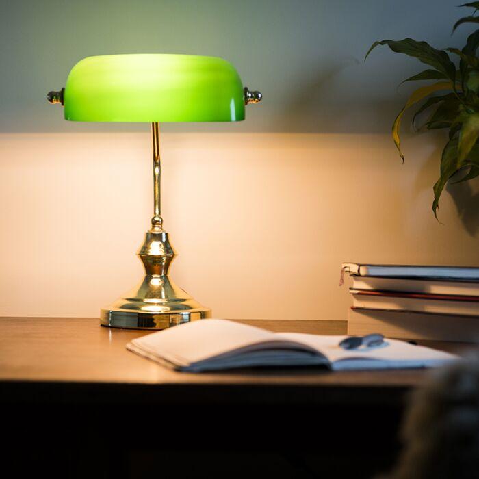 Κλασικό-επιτραπέζιο-φωτιστικό-/-ορείχαλκο-με-πράσινο-γυαλί---Banker