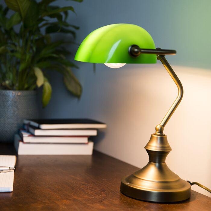 Κλασικό-επιτραπέζιο-φωτιστικό-/-χάλκινο-φωτιστικό-με-πράσινο-γυαλί---Banker
