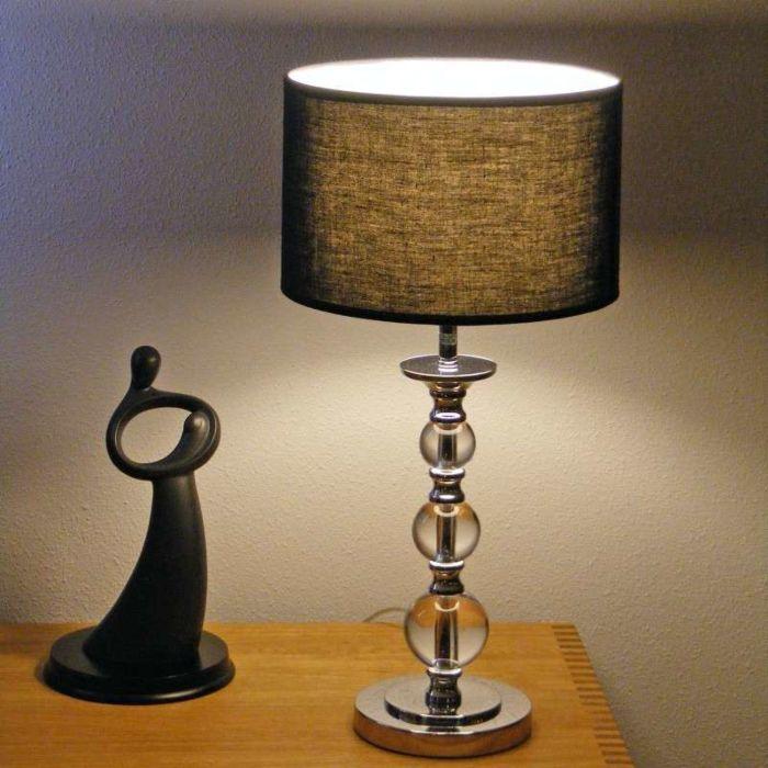Επιτραπέζια-λάμπα-Calabash-χρώμιο-με-μαύρη-σκιά