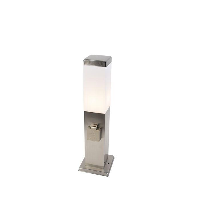 Σύγχρονη-εξωτερική-λάμπα-χάλυβα-45-cm-με-πρίζα-IP44---Μάλι
