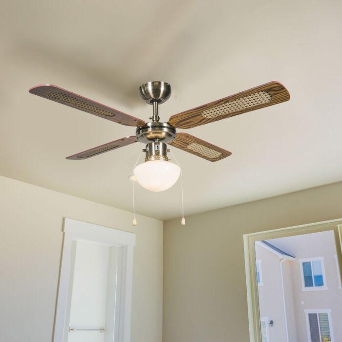 Βιομηχανικός-ανεμιστήρας-οροφής-με-λάμπα-100-cm-ξύλο---Άνεμος