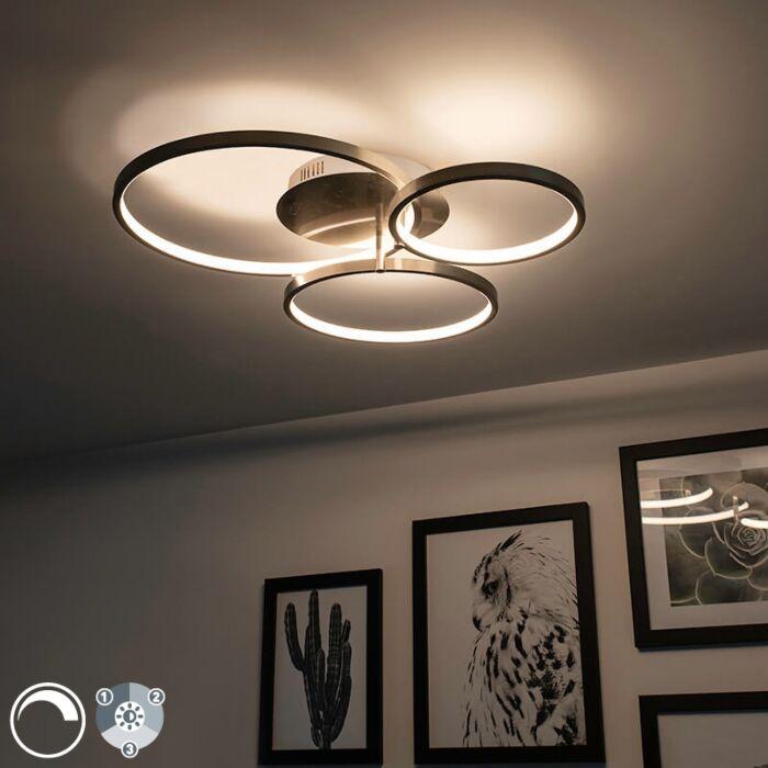 Μοντέρνο-φωτιστικό-οροφής-από-χάλυβα-με-LED-και-dimmer-Rondas