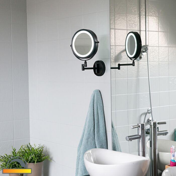 Σχεδίαση-καθρέφτη-μπάνιου-μαύρο-με-ρυθμιζόμενο-LED-IP44---Vicino