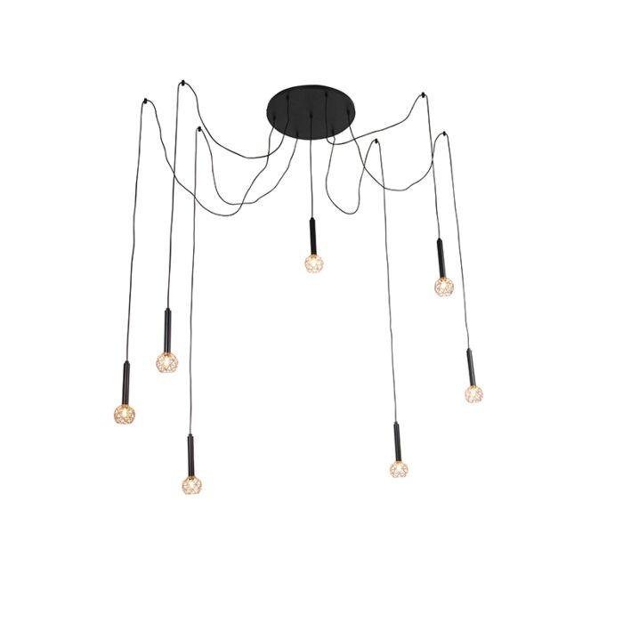 Κρεμαστή-λάμπα-μαύρο-με-χαλκό-7-φώτα---Πλέγμα