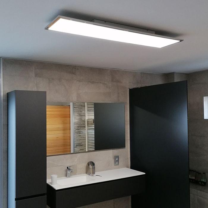 Κομψό-επιμήκη-φωτιστικό-οροφής-χρώμιο-με-LED-IP44---Επίπεδο