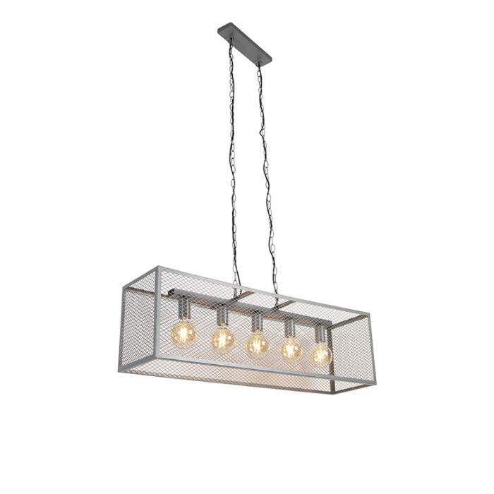 Βιομηχανική-κρεμαστή-λάμπα-αντίκα-ασημί-5-φως---Cage-Robusto