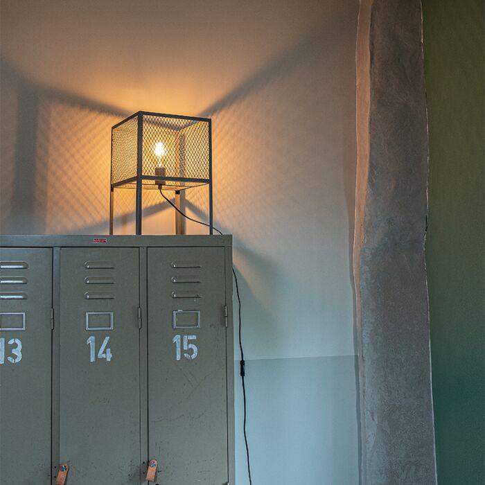 Βιομηχανική-επιτραπέζια-λάμπα-ασημί---Cage-Robusto