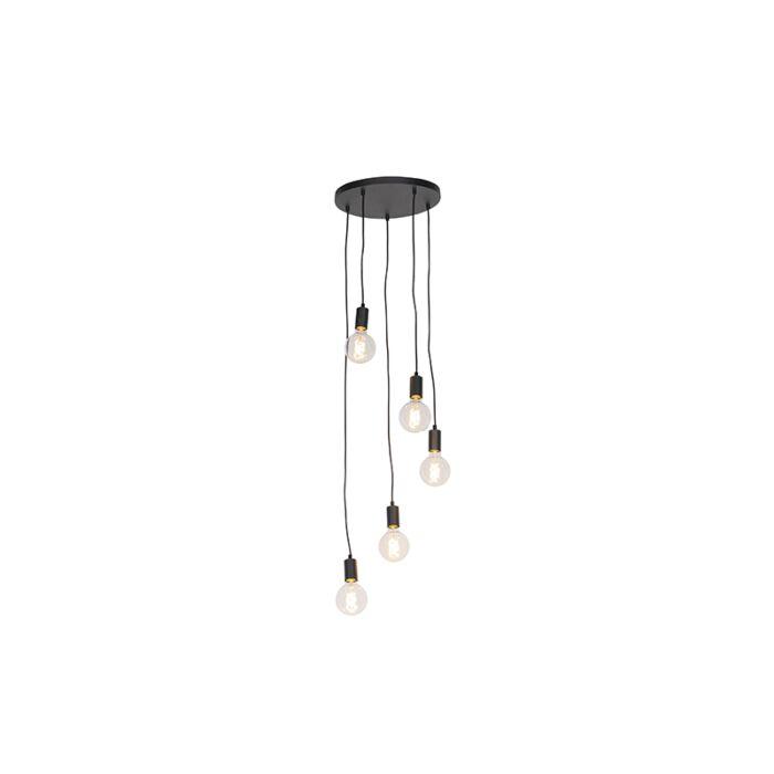 Μοντέρνα-κρεμαστή-λάμπα-μαύρο-35-cm-5-φώτα---Facil